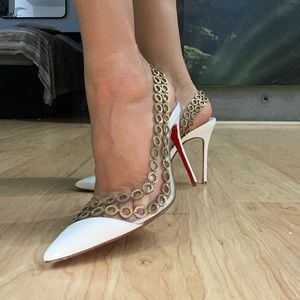Louboutin 🔥 Gold Ornament Strap White Heels 37.5